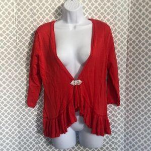 NWT Christina coral red ruffle bottom cardigan